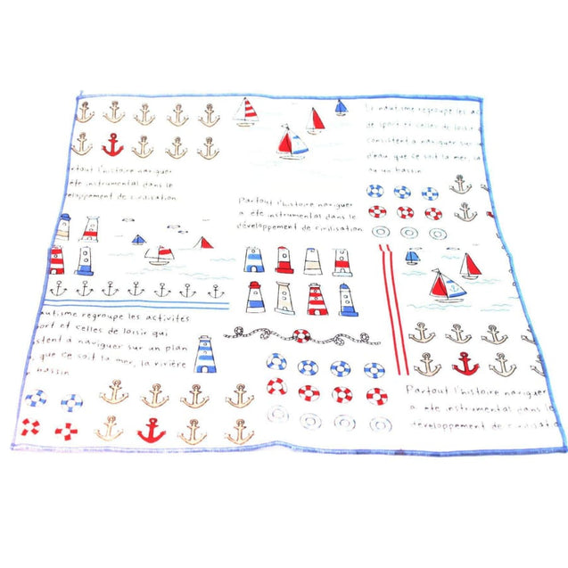 BABY BLUE BOAT COTTON POCKET SQUARE - Elnuk Styles Bows N Lapel