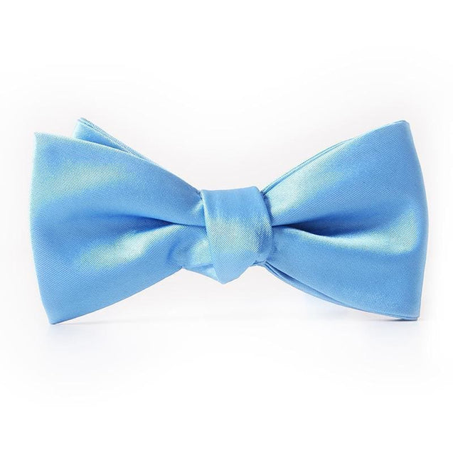 BABY BLUE FLARE SATIN BOW TIE (WEDDINGS) - Elnukstyles | unique affordable men's Bow Ties, Knitted Neckties, Flower Lapel Pins, Pocket Squares, Tie Clips, Cufflinks, Brooch, Toronto