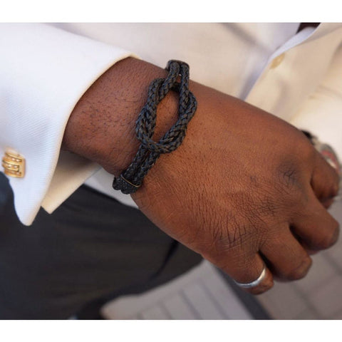BLACK CLASP WRAP BRACELET - Elnukstyles | unique affordable men's Bow Ties, Knitted Neckties, Flower Lapel Pins, Pocket Squares, Tie Clips, Cufflinks, Brooch, Toronto