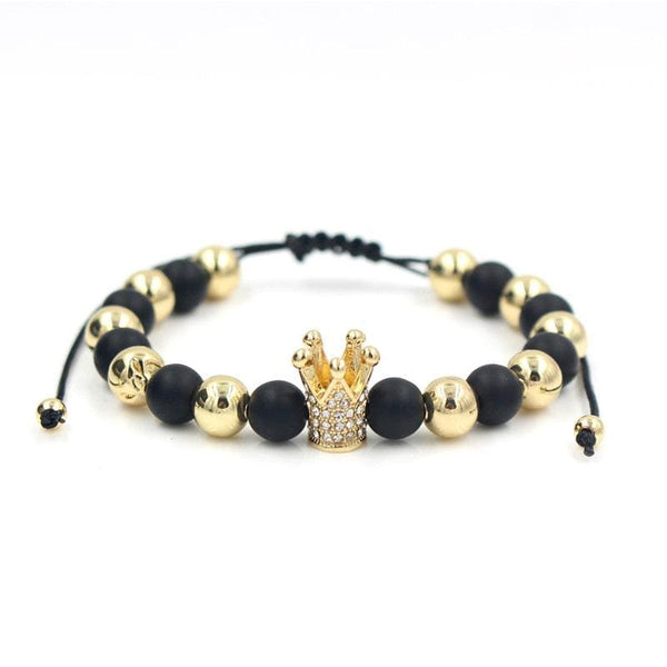 BLACK & GOLD BEAD WITH CROWN STONE BRACELET (8mm) - Elnukstyles | unique affordable men's Bow Ties, Knitted Neckties, Flower Lapel Pins, Pocket Squares, Tie Clips, Cufflinks, Brooch, Toronto