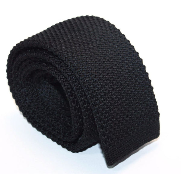 BLACK KNITTED TIE - Elnukstyles | unique affordable men's Bow Ties, Knitted Neckties, Flower Lapel Pins, Pocket Squares, Tie Clips, Cufflinks, Brooch, Toronto