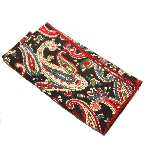 BLACK PAISLEY COTTON POCKET SQUARE - Elnukstyles | unique affordable men's Bow Ties, Knitted Neckties, Flower Lapel Pins, Pocket Squares, Tie Clips, Cufflinks, Brooch, Toronto
