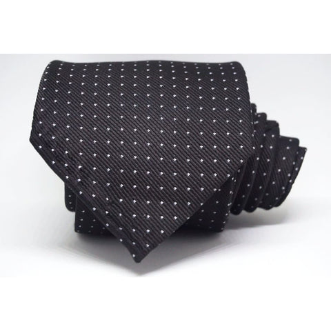 BLACK  POLKA DOT NECKTIE - Elnukstyles | unique affordable men's Bow Ties, Knitted Neckties, Flower Lapel Pins, Pocket Squares, Tie Clips, Cufflinks, Brooch, Toronto