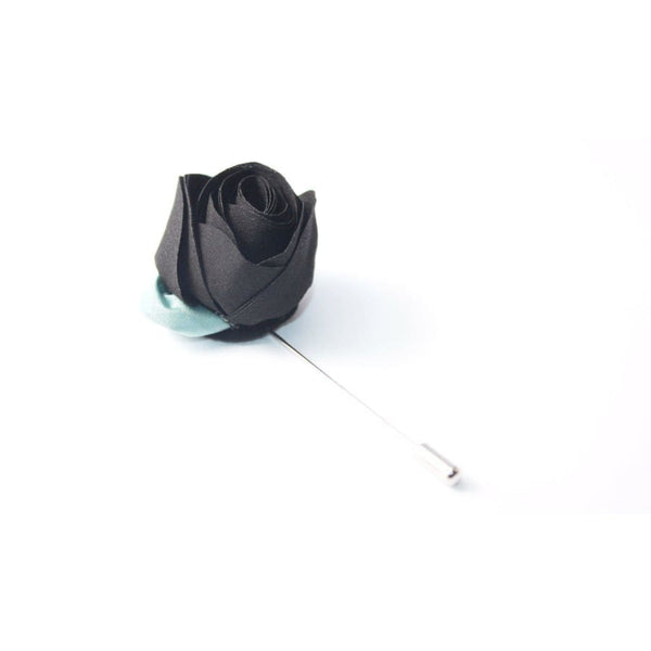 BLACK ROSE LAPEL PIN - Elnukstyles | unique affordable men's Bow Ties, Knitted Neckties, Flower Lapel Pins, Pocket Squares, Tie Clips, Cufflinks, Brooch, Toronto
