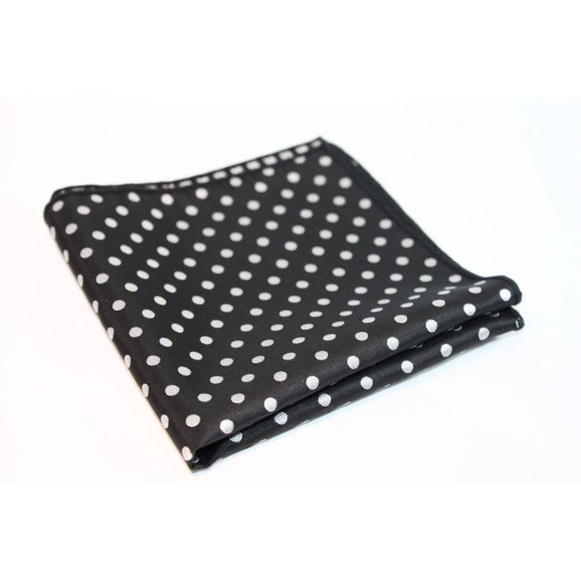BLACK WITH WHITE POLKA DOT POCKET SQUARE - Elnukstyles | unique affordable men's Bow Ties, Knitted Neckties, Flower Lapel Pins, Pocket Squares, Tie Clips, Cufflinks, Brooch, Toronto