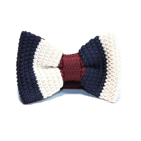 BLUE & BURGUNDY LINED KNITTED BOW TIE - Elnukstyles | unique affordable men's Bow Ties, Knitted Neckties, Flower Lapel Pins, Pocket Squares, Tie Clips, Cufflinks, Brooch, Toronto