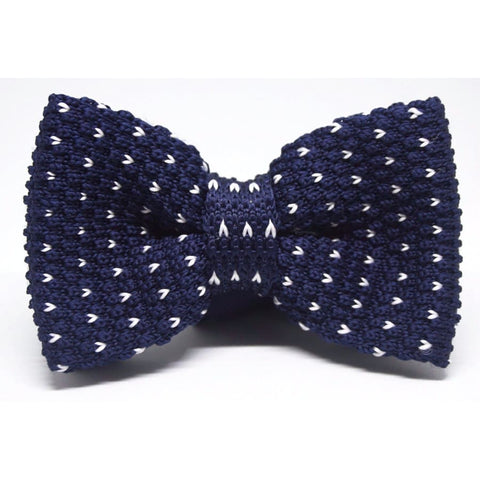 BLUE DOT KNITTED BOW TIE - Elnukstyles | unique affordable men's Bow Ties, Knitted Neckties, Flower Lapel Pins, Pocket Squares, Tie Clips, Cufflinks, Brooch, Toronto