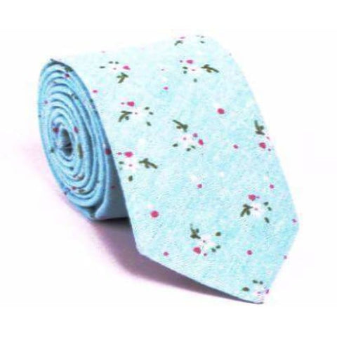 BLUE FLORAL NECKTIE - Elnukstyles | unique affordable men's Bow Ties, Knitted Neckties, Flower Lapel Pins, Pocket Squares, Tie Clips, Cufflinks, Brooch, Toronto