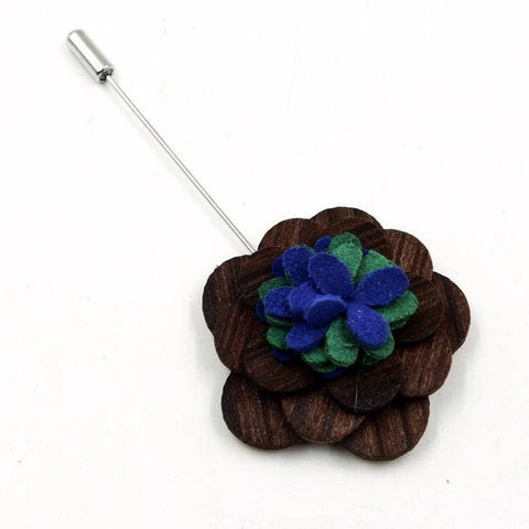BLUE & GREEN WOODEN LAPEL PIN - Elnukstyles | unique affordable men's Bow Ties, Knitted Neckties, Flower Lapel Pins, Pocket Squares, Tie Clips, Cufflinks, Brooch, Toronto