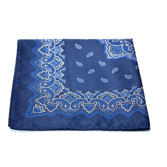 BLUE PAISLEY POCKET SQUARE - Elnuk Styles Bows N Lapel