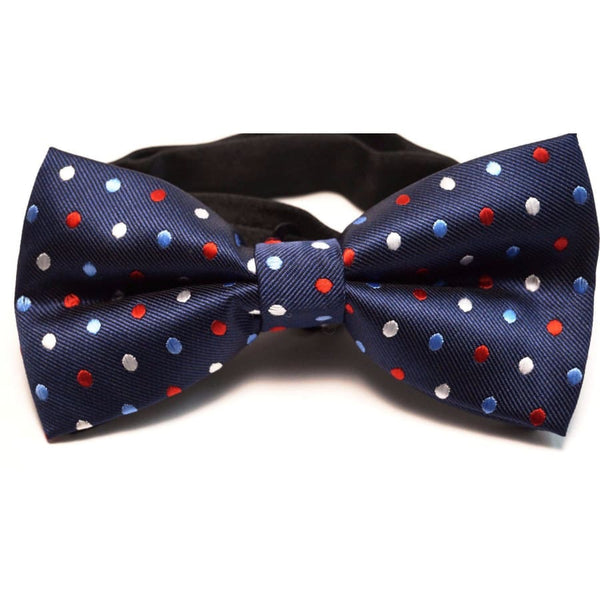 BLUE POLKA SATIN BOW TIE - Elnukstyles | unique affordable men's Bow Ties, Knitted Neckties, Flower Lapel Pins, Pocket Squares, Tie Clips, Cufflinks, Brooch, Toronto