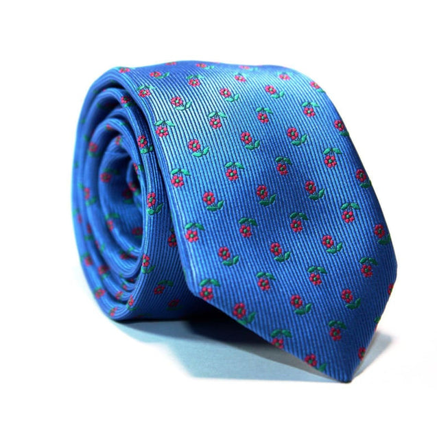 BLUE WITH RED FLOWERS NECKTIE - Elnukstyles | unique affordable men's Bow Ties, Knitted Neckties, Flower Lapel Pins, Pocket Squares, Tie Clips, Cufflinks, Brooch, Toronto