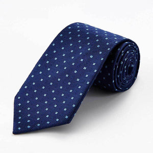 f675e4f6b788 BLUE WITH SQUARE BABY BLUE DOT SILK TIE - Elnukstyles   unique affordable  men's Bow Ties