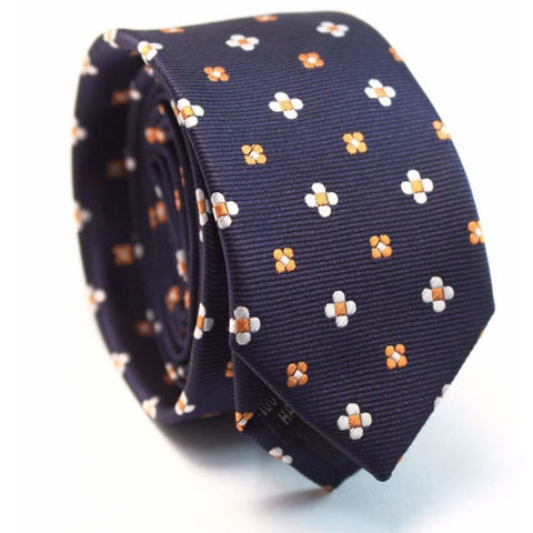 BLUE WITH YELLOW FLOWER SKINNY NECKTIE - Elnukstyles | unique affordable men's Bow Ties, Knitted Neckties, Flower Lapel Pins, Pocket Squares, Tie Clips, Cufflinks, Brooch, Toronto