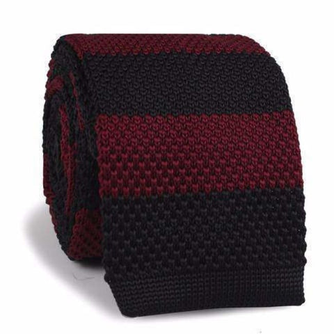 BURGUNDY BLACK STRIPES KNITTED NECKTIE - Elnukstyles | unique affordable men's Bow Ties, Knitted Neckties, Flower Lapel Pins, Pocket Squares, Tie Clips, Cufflinks, Brooch, Toronto