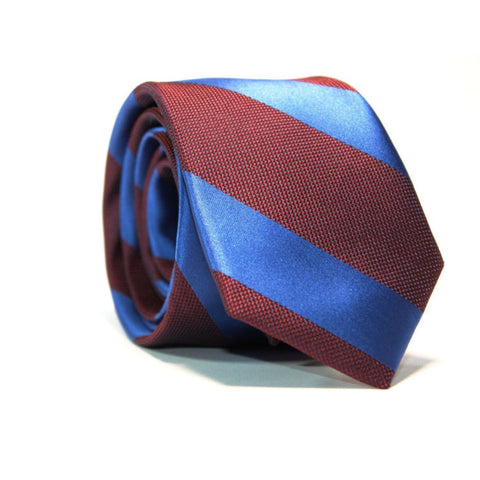 BURGUNDY & BLUE STRIPED NECKTIE - Elnukstyles | unique affordable men's Bow Ties, Knitted Neckties, Flower Lapel Pins, Pocket Squares, Tie Clips, Cufflinks, Brooch, Toronto