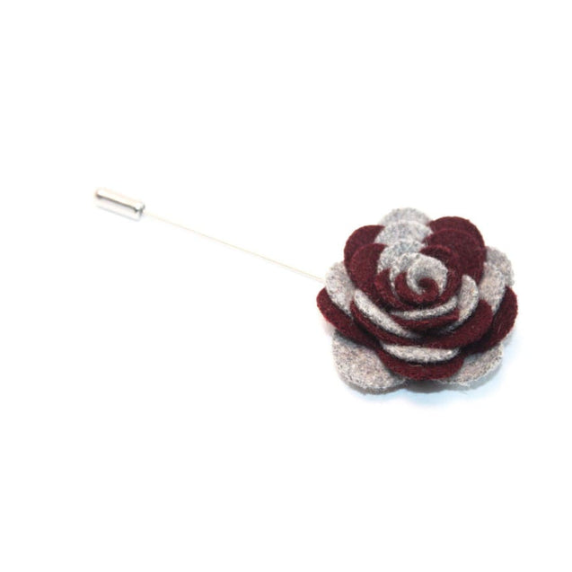 BURGUNDY GRAY CAMELLIA LAPEL PIN - Elnukstyles | unique affordable men's Bow Ties, Knitted Neckties, Flower Lapel Pins, Pocket Squares, Tie Clips, Cufflinks, Brooch, Toronto