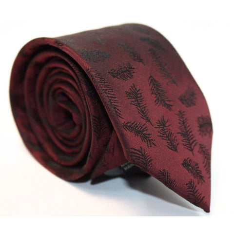 BURGUNDY LEAVES NECKTIE - Elnukstyles | unique affordable men's Bow Ties, Knitted Neckties, Flower Lapel Pins, Pocket Squares, Tie Clips, Cufflinks, Brooch, Toronto