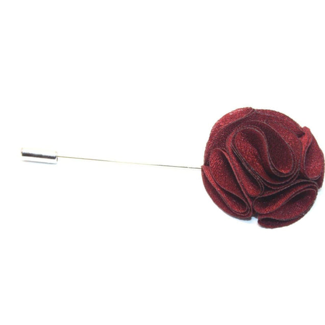 BURGUNDY (MAROON) FLOWER LAPEL PIN - Elnukstyles | unique affordable men's Bow Ties, Knitted Neckties, Flower Lapel Pins, Pocket Squares, Tie Clips, Cufflinks, Brooch, Toronto