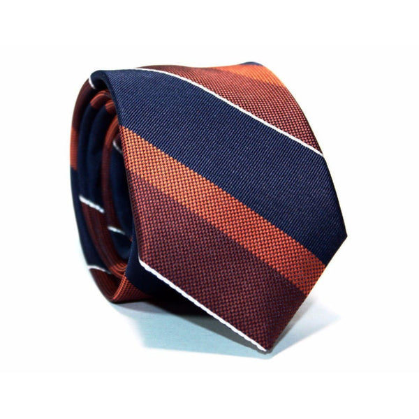 BURNT ORANGE & NAVY BLUE NECKTIE - Elnukstyles | unique affordable men's Bow Ties, Knitted Neckties, Flower Lapel Pins, Pocket Squares, Tie Clips, Cufflinks, Brooch, Toronto