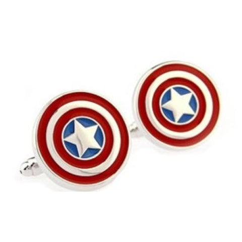CAPTAIN AMERICA CUFFLINKS - Elnukstyles | unique affordable men's Bow Ties, Knitted Neckties, Flower Lapel Pins, Pocket Squares, Tie Clips, Cufflinks, Brooch, Toronto