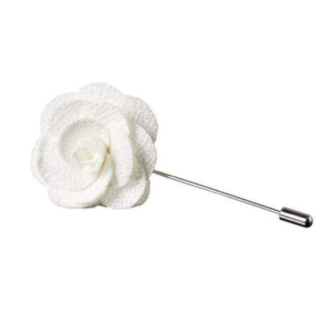 WHITE FLOWER LAPEL PIN - Elnukstyles | unique affordable men's Bow Ties, Knitted Neckties, Flower Lapel Pins, Pocket Squares, Tie Clips, Cufflinks, Brooch, Toronto