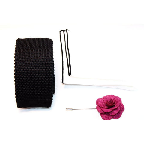 CLASSIC FUCHSIA (KNITTED TIE, POCKET SQUARE, LAPEL PIN) - Elnukstyles | unique affordable men's Bow Ties, Knitted Neckties, Flower Lapel Pins, Pocket Squares, Tie Clips, Cufflinks, Brooch, Toronto