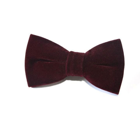 CONVENTIONAL BURGUNDY VELVET BOW TIE - Elnukstyles | unique affordable men's Bow Ties, Knitted Neckties, Flower Lapel Pins, Pocket Squares, Tie Clips, Cufflinks, Brooch, Toronto