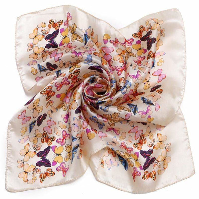 CREAM BUTTERFLY SILK  POCKET SQUARE - Elnuk Styles Bows N Lapel