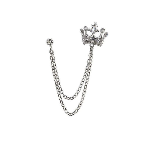 CROWN CHAIN LAPEL PIN - Elnukstyles | unique affordable men's Bow Ties, Knitted Neckties, Flower Lapel Pins, Pocket Squares, Tie Clips, Cufflinks, Brooch, Toronto