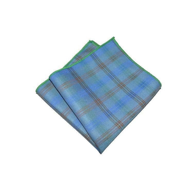 DEEP BLUE PLAID COTTON POCKET SQUARE - Elnukstyles | unique affordable men's Bow Ties, Knitted Neckties, Flower Lapel Pins, Pocket Squares, Tie Clips, Cufflinks, Brooch, Toronto