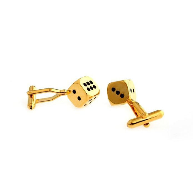 DICE CUFFLINKS (GOLD) - Elnukstyles | unique affordable men's Bow Ties, Knitted Neckties, Flower Lapel Pins, Pocket Squares, Tie Clips, Cufflinks, Brooch, Toronto