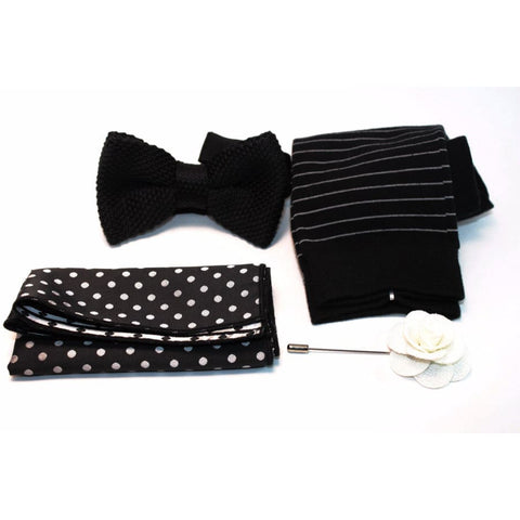 DOT DEBONAIR - WEDDING BOX-SET (BOW TIE, POCKET SQUARE, LAPEL PIN, SOCKS) - Elnukstyles | unique affordable men's Bow Ties, Knitted Neckties, Flower Lapel Pins, Pocket Squares, Tie Clips, Cufflinks, Brooch, Toronto