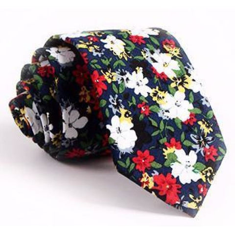 EX·QUIS·ITE DEEP BLUE FLORAL NECKTIE - Elnukstyles | unique affordable men's Bow Ties, Knitted Neckties, Flower Lapel Pins, Pocket Squares, Tie Clips, Cufflinks, Brooch, Toronto