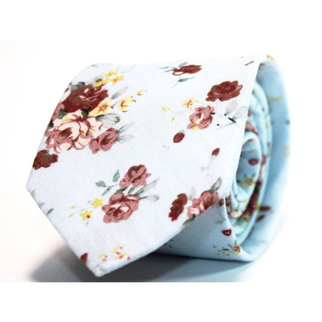 EX·QUIS·ITE LIGHT SKY BLUE FLORAL NECKTIE - Elnukstyles | unique affordable men's Bow Ties, Knitted Neckties, Flower Lapel Pins, Pocket Squares, Tie Clips, Cufflinks, Brooch, Toronto