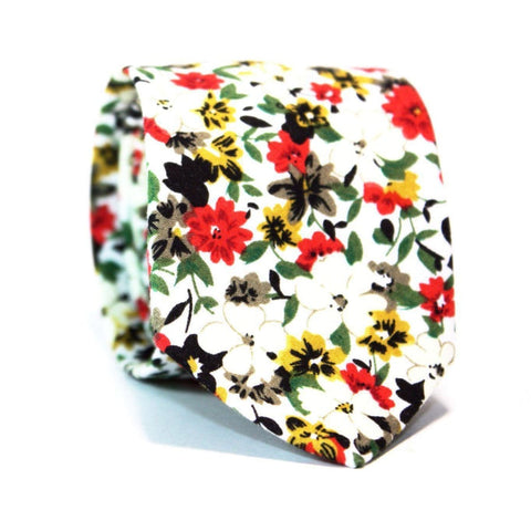 EX·QUIS·ITE WHITE FLORAL NECKTIE - Elnukstyles | unique affordable men's Bow Ties, Knitted Neckties, Flower Lapel Pins, Pocket Squares, Tie Clips, Cufflinks, Brooch, Toronto