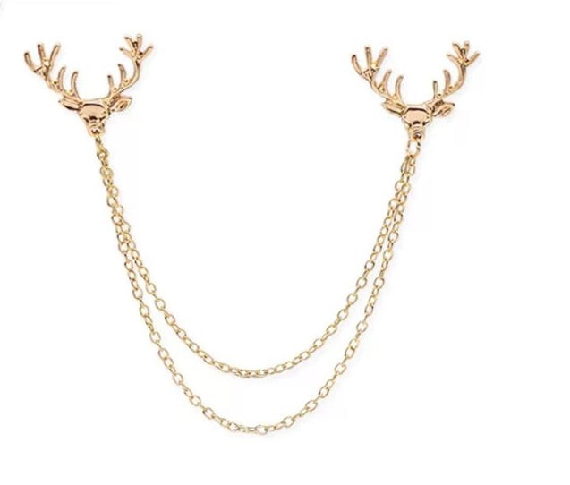 DEER HEAD CHAIN COLLAR PIN - Elnukstyles | unique affordable men's Bow Ties, Knitted Neckties, Flower Lapel Pins, Pocket Squares, Tie Clips, Cufflinks, Brooch, Toronto