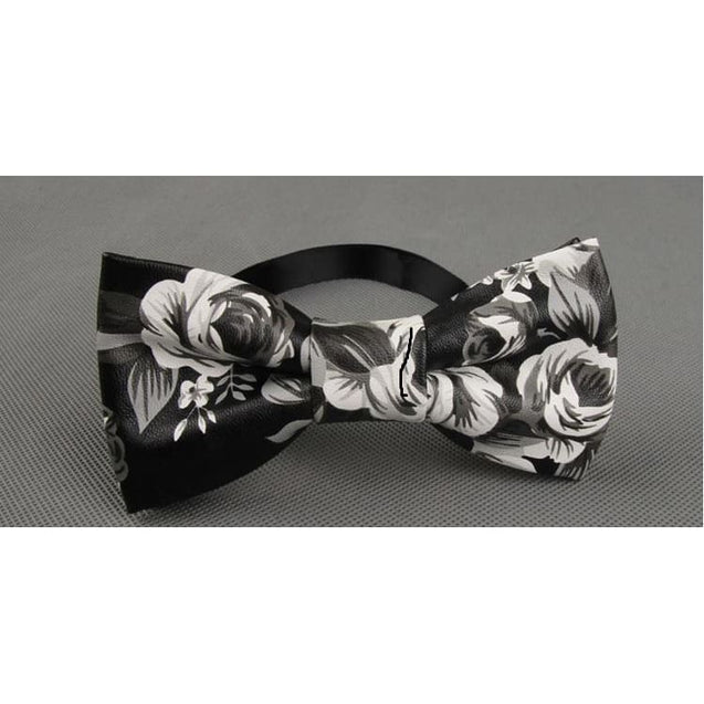 FLOWERS LEATHER BOW TIE - Elnukstyles | unique affordable men's Bow Ties, Knitted Neckties, Flower Lapel Pins, Pocket Squares, Tie Clips, Cufflinks, Brooch, Toronto