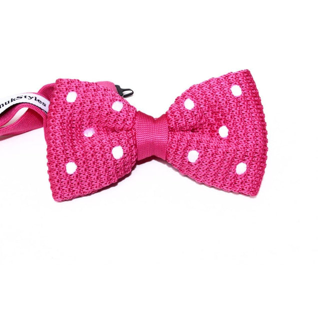 FUCHSIA DOT KNITTED BOW TIE - Elnukstyles | unique affordable men's Bow Ties, Knitted Neckties, Flower Lapel Pins, Pocket Squares, Tie Clips, Cufflinks, Brooch, Toronto