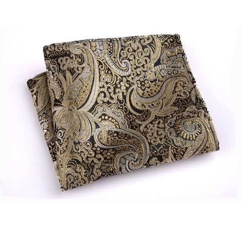 GOLD PAISLEY POCKET SQUARE - Elnukstyles | unique affordable men's Bow Ties, Knitted Neckties, Flower Lapel Pins, Pocket Squares, Tie Clips, Cufflinks, Brooch, Toronto