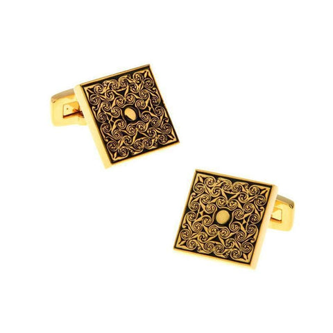 GOLD SCRIBBLES CUFFLINKS - Elnukstyles | unique affordable men's Bow Ties, Knitted Neckties, Flower Lapel Pins, Pocket Squares, Tie Clips, Cufflinks, Brooch, Toronto