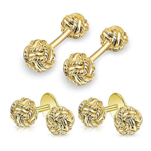 GOLD WOVEN LOVE TUXEDO STUDS & CUFFLINK - Elnukstyles | unique affordable men's Bow Ties, Knitted Neckties, Flower Lapel Pins, Pocket Squares, Tie Clips, Cufflinks, Brooch, Toronto