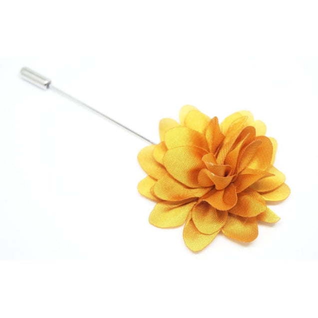 GOLDEN YELLOW FLUFF LAPEL PIN - Elnukstyles | unique affordable men's Bow Ties, Knitted Neckties, Flower Lapel Pins, Pocket Squares, Tie Clips, Cufflinks, Brooch, Toronto