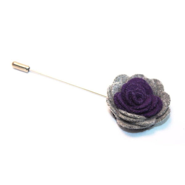 GRAY PURPLE CAMELLIA LAPEL PIN - Elnukstyles | unique affordable men's Bow Ties, Knitted Neckties, Flower Lapel Pins, Pocket Squares, Tie Clips, Cufflinks, Brooch, Toronto