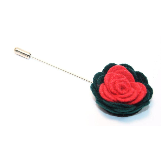 GREEN & RED CAMELLIA LAPEL PIN - Elnukstyles | unique affordable men's Bow Ties, Knitted Neckties, Flower Lapel Pins, Pocket Squares, Tie Clips, Cufflinks, Brooch, Toronto
