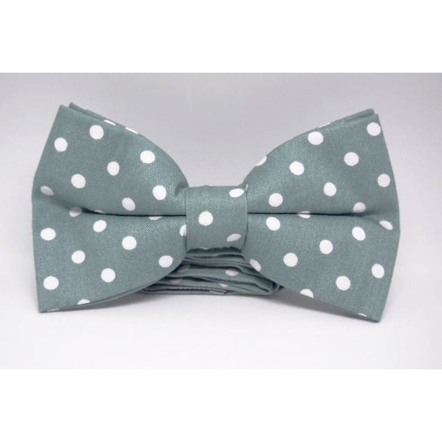 GREEN WITH A WHITE POLKA DOT COTTON BOW TIE - Elnukstyles | unique affordable men's Bow Ties, Knitted Neckties, Flower Lapel Pins, Pocket Squares, Tie Clips, Cufflinks, Brooch, Toronto