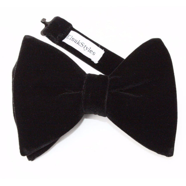 GUILT.LESS II LARGE VINTAGE VELVET BOW TIE (BLACK) - Elnukstyles | unique affordable men's Bow Ties, Knitted Neckties, Flower Lapel Pins, Pocket Squares, Tie Clips, Cufflinks, Brooch, Toronto