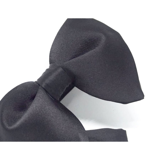 GUILT.LESS VI LARGE VINTAGE SATIN BOW TIE (BLACK) - Elnukstyles | unique affordable men's Bow Ties, Knitted Neckties, Flower Lapel Pins, Pocket Squares, Tie Clips, Cufflinks, Brooch, Toronto