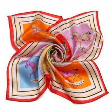HORSE RED SILK POCKET SQUARE - Elnuk Styles Bows N Lapel