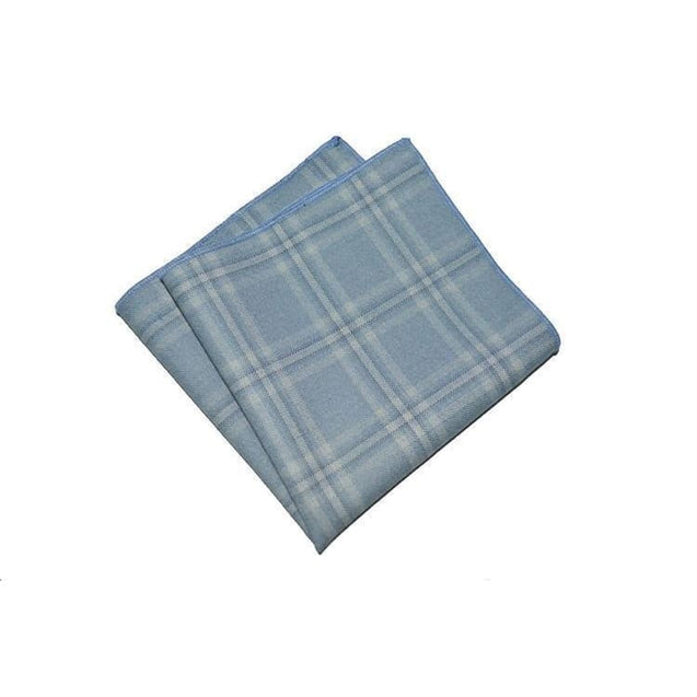 LIGHT BLUE PLAID COTTON POCKET SQUARE - Elnukstyles | unique affordable men's Bow Ties, Knitted Neckties, Flower Lapel Pins, Pocket Squares, Tie Clips, Cufflinks, Brooch, Toronto